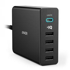 Namizni polnilec USB Anker PowerPort+ 5, 5 vhodov, črna