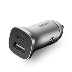 Polnilec za avto USB Ugreen USB + USB-C PD, 18 W, siva