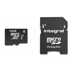 Spominska kartica Integral Smartphone & Tablet microSDXC, 128 GB + adapter