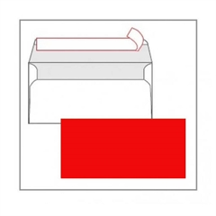 Kuverta amerikanka, barvna (rdeča) 220 x 110 mm, brez okenca, 25 kosov