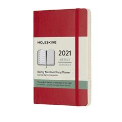 Žepni planer 2021 Moleskine, mehke platnice, 12 mesecev, škrlatno rdeč