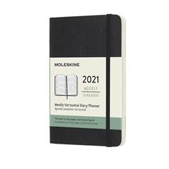 Horizontalni žepni planer 2021 Moleskine, mehke platnice, 12 mesecev, črn