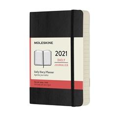 Žepni dnevni planer 2021 Moleskine, mehke platnice, 12 mesecev, črn