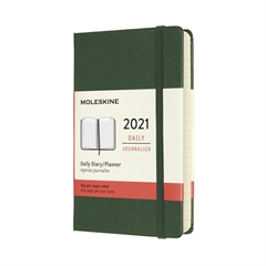 Žepni dnevni planer 2021 Moleskine, trde platnice, 12 mesecev, zelen