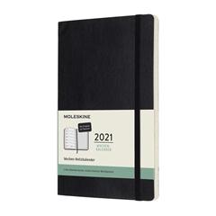 Velik planer 2021 Moleskine DE, mehke platnice, 12 mesecev, črn