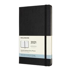 Velik mesečni planer 2021 Moleskine, trde platnice, 12 mesecev, črn
