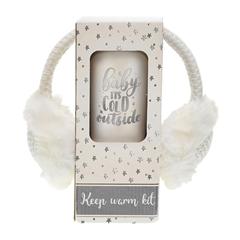 Božični darilni set Warm z naušniki in skodelico to-go, bela