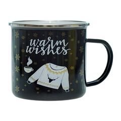 Emajlirana skodelica Warm Wishes, črna
