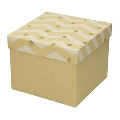 Darilna škatla Creative, z bleščicami, 16 x 16 x 13 cm, naravna