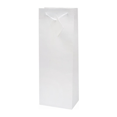 Darilna vrečka za steklenico, plastificirana, mat bela