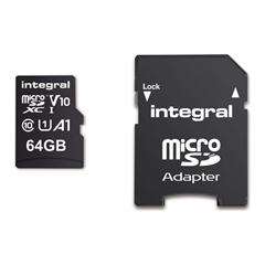 Spominska kartica Integral microSDHC/XC V10 UHS-I U1, 64 GB + SD adapter