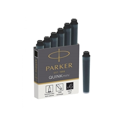 Črnilni vložek Quink Parker mini, črn, 6 kosov