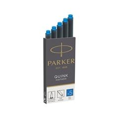 Črnilni vložek Quink Parker, pralen, moder, 5 kosov