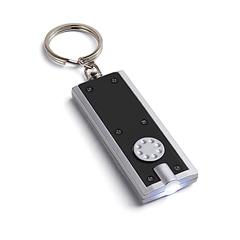 Obesek za ključe Rect s svetilko, črn