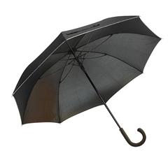 Golf dežnik Aurora, z gumijastim ročajem in odsevnim robom, črn