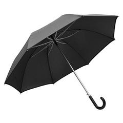 Golf dežnik Galant, z usnjenim ročajem, črn