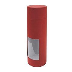 Kartonska škatla za steklenico Window, rdeča