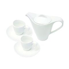 Set porcelanastih skodelic s čajnikom, 3-delni