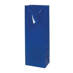 Darilna vrečka za steklenico, plastificirana, mat modra