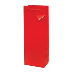 Darilna vrečka za steklenico, plastificirana, mat rdeča