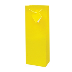 Darilna vrečka za steklenico, plastificirana, mat rumena
