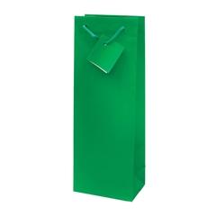 Darilna vrečka za steklenico, plastificirana, mat zelena