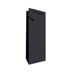 Darilna vrečka za steklenico, plastificirana, mat črna