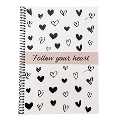 Zvezek Follow your heart A5 s spiralo, črn, črte
