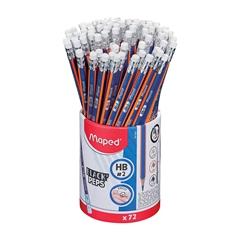 Grafitni svinčnik Maped Black'peps z radirko, HB, 72 kosov