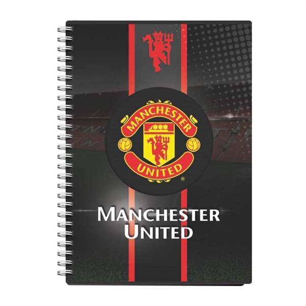 Beležnica Manchester United PVC s špiralo, A6, 80 listov, črte