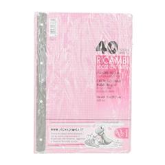 Vložni listi Pigna A4, 40 listov, mali karo, roza