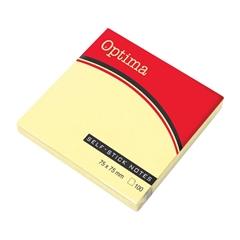 Blok samolepilnih lističev Optima, 75 x 75, 100 listov, pastelno rumen