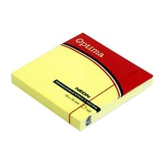 Blok samolepilnih lističev Optima, 75 x 75, 100 listov, neon rumen