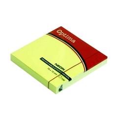 Blok samolepilnih lističev Optima, 75 x 75, 100 listov, neon zelen