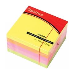 Blok samolepilnih lističev Optima, 75 x 75, 450 listov, neon barve