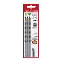 Grafitni svinčnik Faber-Castell Grip, 3 kosi + radirka