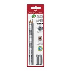 Grafitni svinčnik Faber-Castell Grip, 2 kosa + radirka